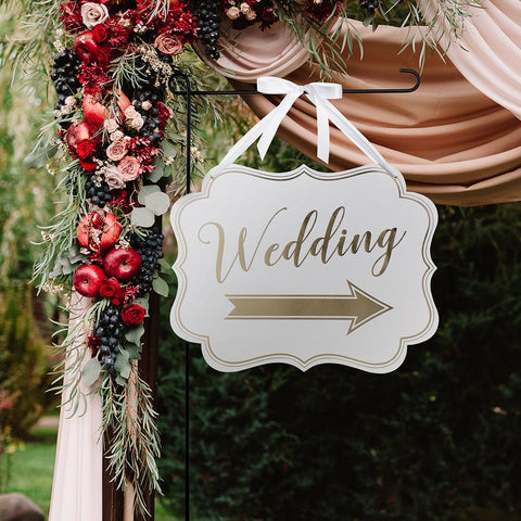 White & Gold Arrow Wedding Sign-Jubilee Favors