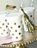 White & Gold Polka Dot Party Cups w/Lids (set of 25)-Jubilee Favors