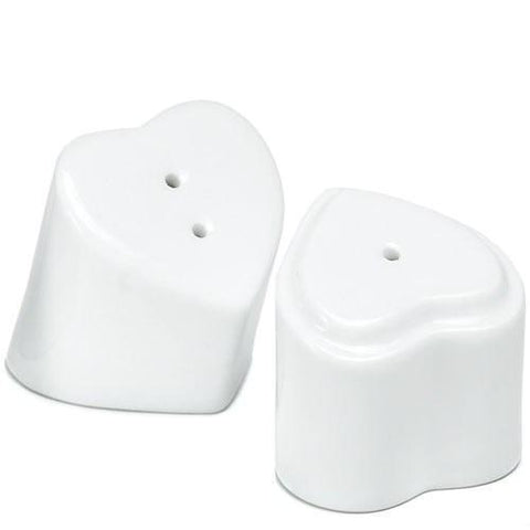 White Interlocking Hearts Salt And Pepper Shakers-Jubilee Favors