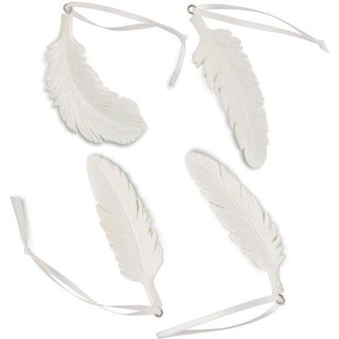 White Resin Feather Ornament Assortment-Jubilee Favors