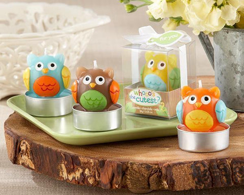 """Whooo's the Cutest"" Baby Owl Candle (Set of Four Assorted) for $ 8.76 at Jubilee Favors"