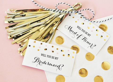 Will You Be My....? Tags & Tassels (set of 6) for $ 13.99 at Jubilee Favors