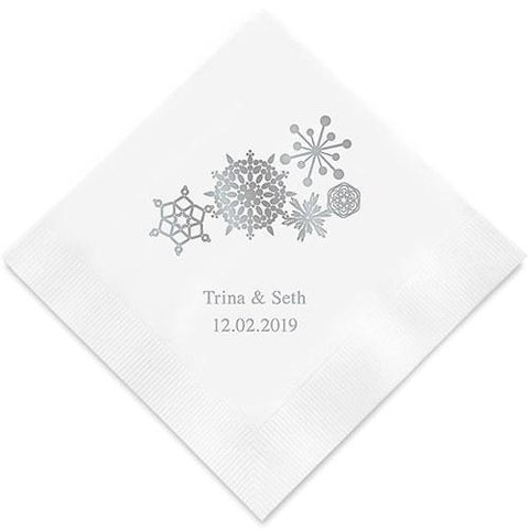 Winter Finery Snowflake Printed Paper Napkins-Jubilee Favors