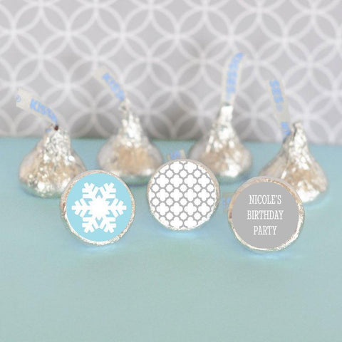 Winter Wonderland Party Personalized Hershey's® Kisses Labels Trio (set of 108)-Jubilee Favors