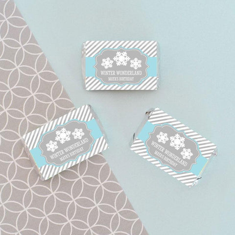 Winter Wonderland Party Personalized Mini Candy Bar Wrappers for $ 0.50 at Jubilee Favors