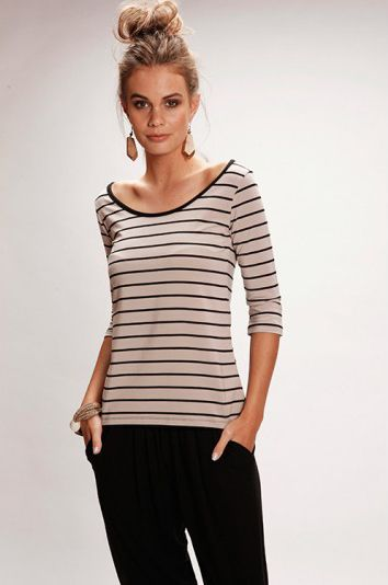 BOAT NECK TOP 3/4 SLEEVE