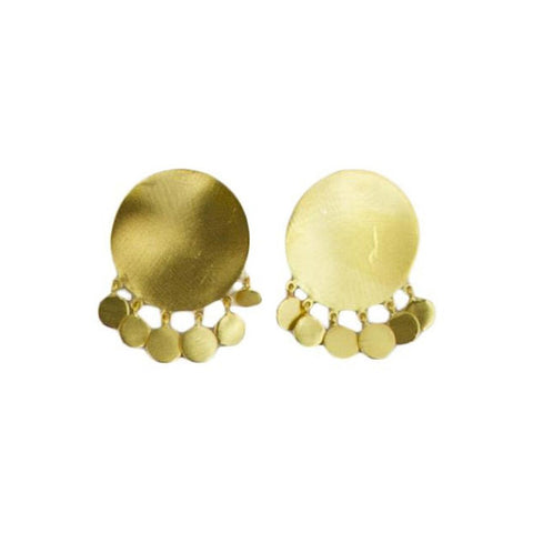 24 Carat Gold plated round tassle stud earrings