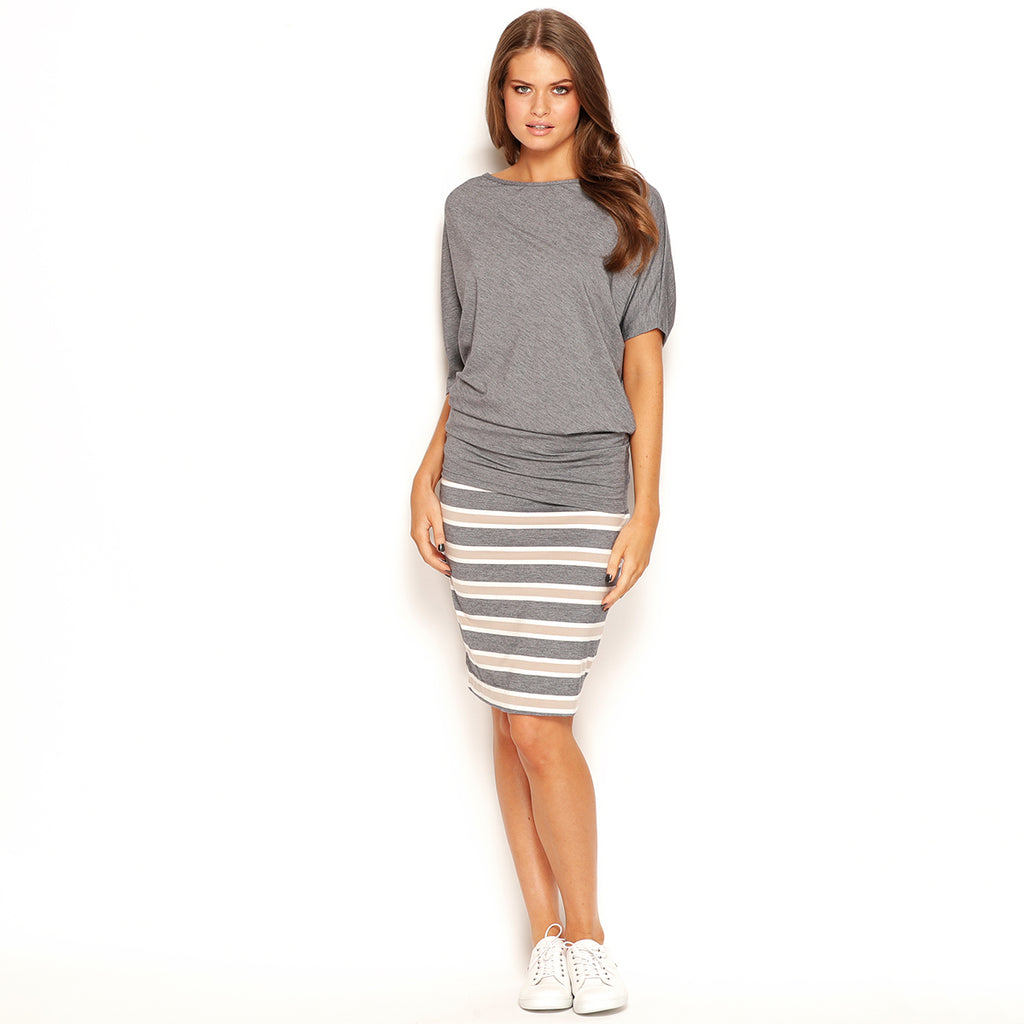 WIDE STRIPE MIDI PENCIL SKIRT