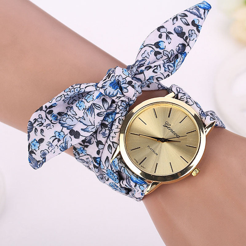 fabric cloth women fashion gold quality photo new goods wrist design high girls ladies watch dress watches sweet flower