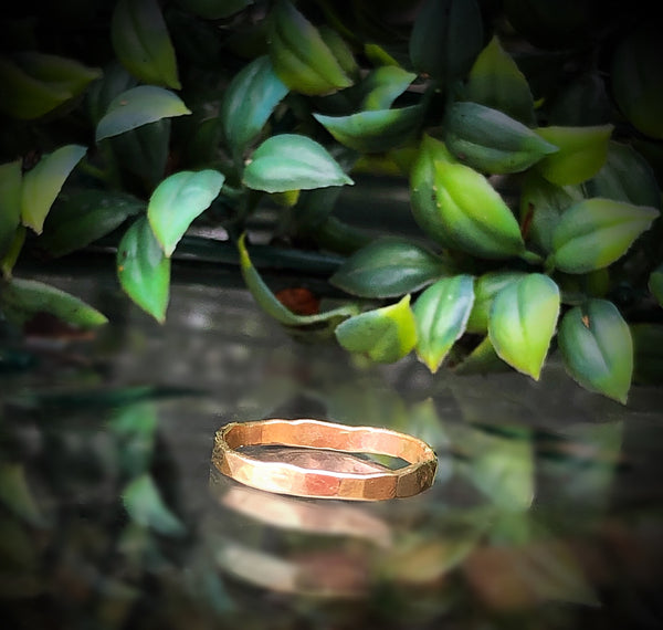 Hammered 14k gold ring