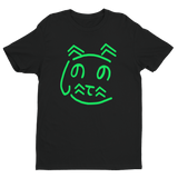 Men's cat shrit, balck shirt with Green design, hiragana shirt cat