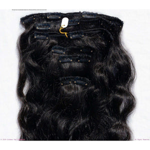 Remy Indian Hair Extensions (Black Smooth Straight Slight Wave)