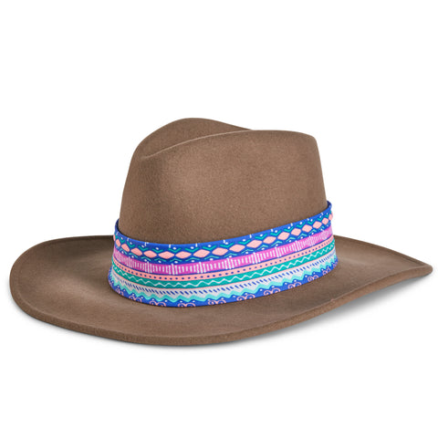 Fancy Fedora Blue Aztec Hat Band on Tapper Hat