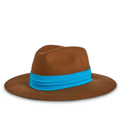 Fancy Fedora Blue Hat Band on Tapper Hat