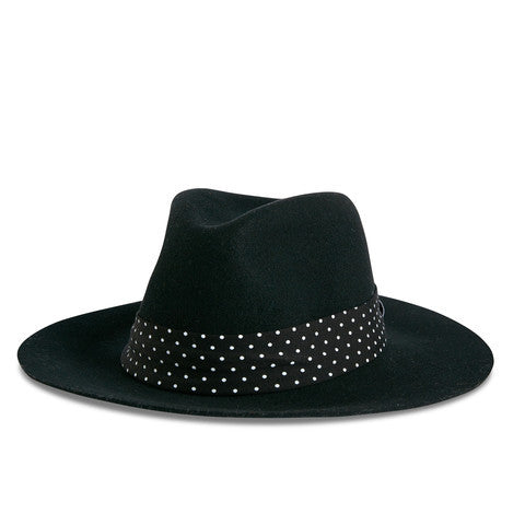 Fancy Fedora Black Polka Dot Hat Band on Natalina Hat