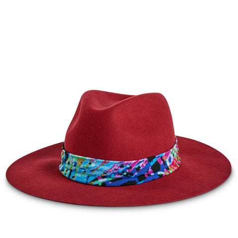 Tie Dye Hat Band on Natalina Crimson Hat