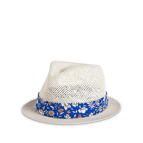 Fancy Fedora Blue Fall Floral Hat Band on Santorini Hat
