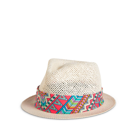 Aztec Pink Hat Band on Santorini Hat