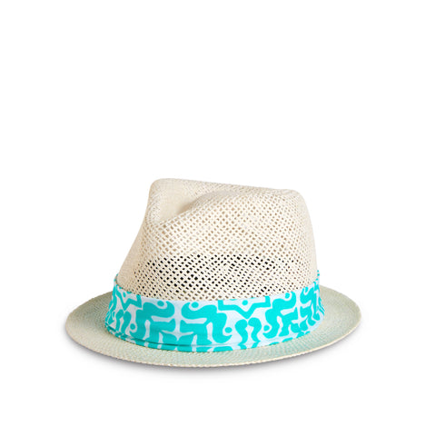 Fancy Fedora Blue & White Hat Band on Santorini Hat