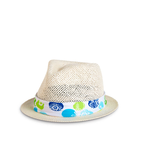 Fancy Fedora Circle Print Hat Band on Santorini Hat