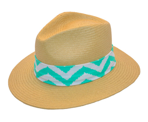 Fancy Fedora Green & White Zig Zag Hat Band on Thomas Hat
