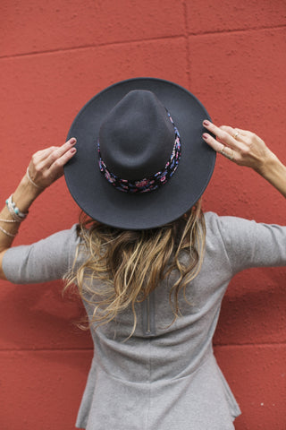 Black Floral Hat Band