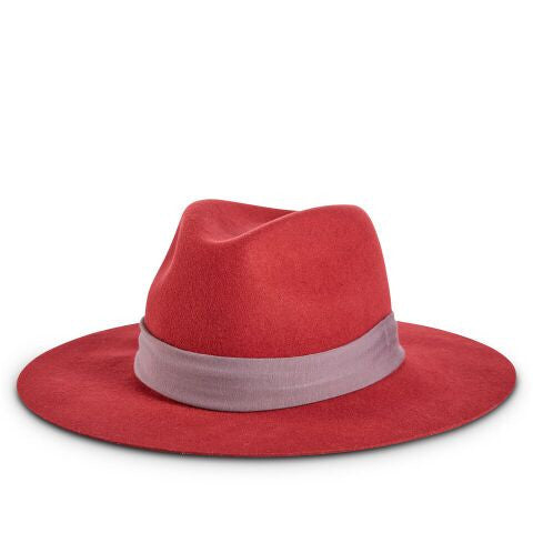 Fancy Fedora Mauve Hat Band on Natalina Red Hat