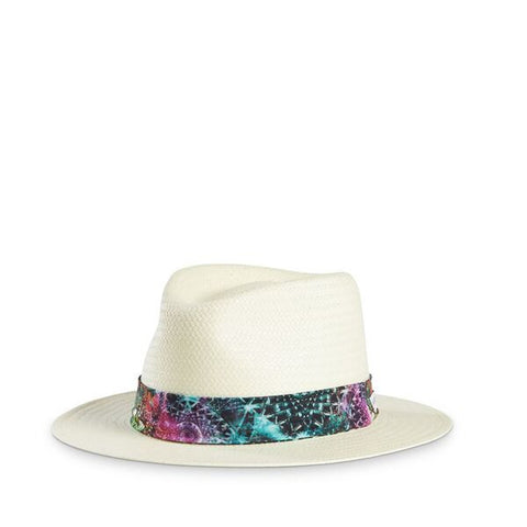 Fancy Fedora Gem Hat Band on Santorini Hat