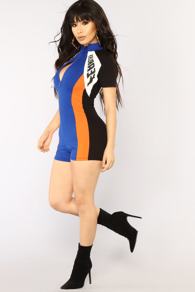*COMING SOON* Fearless Colorblock Romper - Royal/Orange