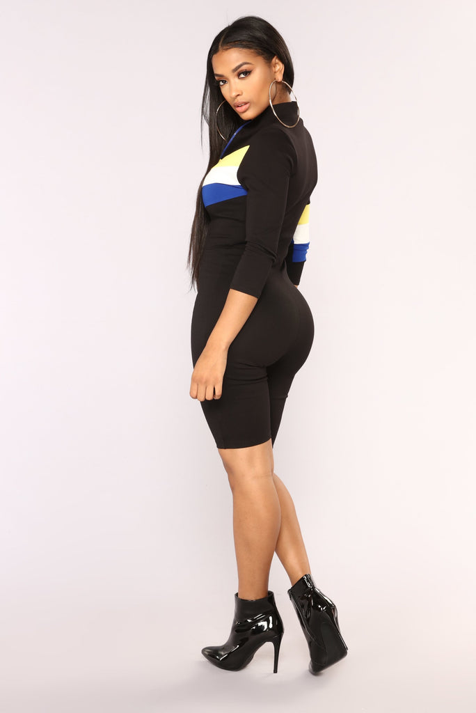 *COMING SOON* Turbo Charged Colorblock Romper - Black