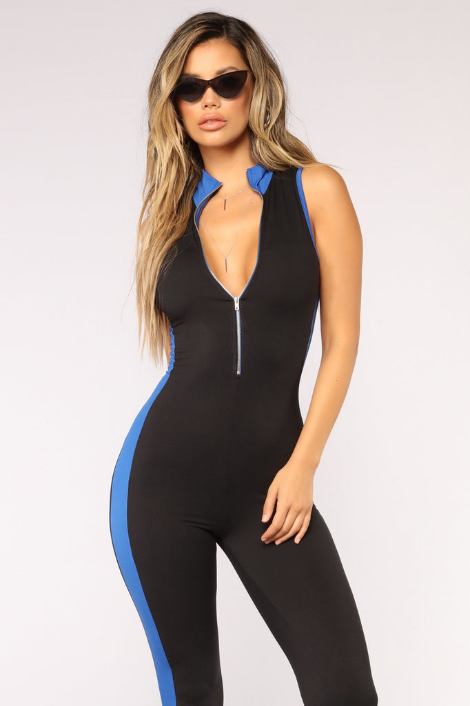 *COMING SOON* ControL Colorblock Jumpsuit - Black/Royal