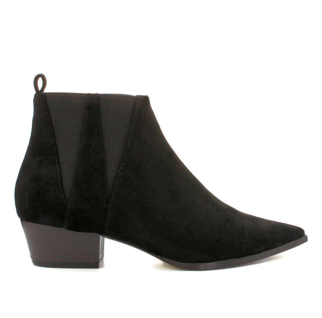 Halle Black Suede Low Heel Pull On Booties