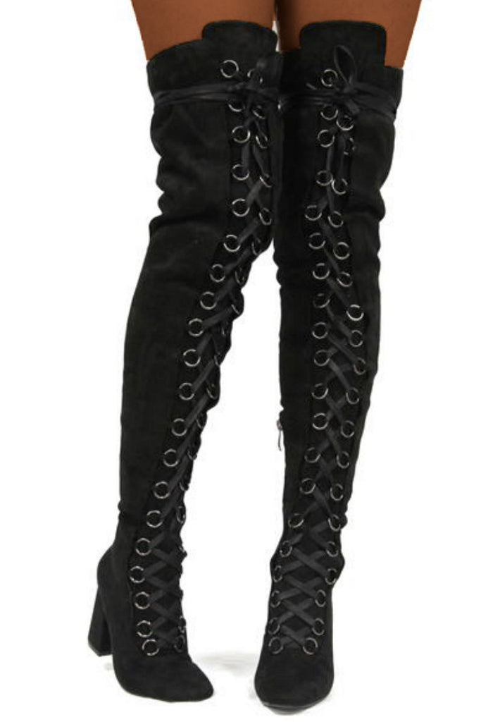 Bae Blk Metal Accent Vegan Suede Thigh High Lace Up Chunky Heel Boots - Black