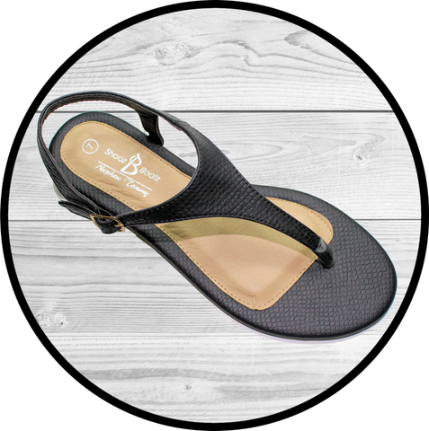 Iris Double Band Sling Back Blk/Taupe Sandal