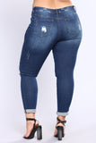 *COMING SOON* BigLuv Kneed Now Curvy Skinny Jeans - Dark Denim