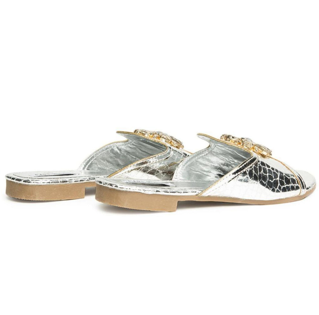 LEELA SLIP ON GEMSTONE SLIDE SILVER