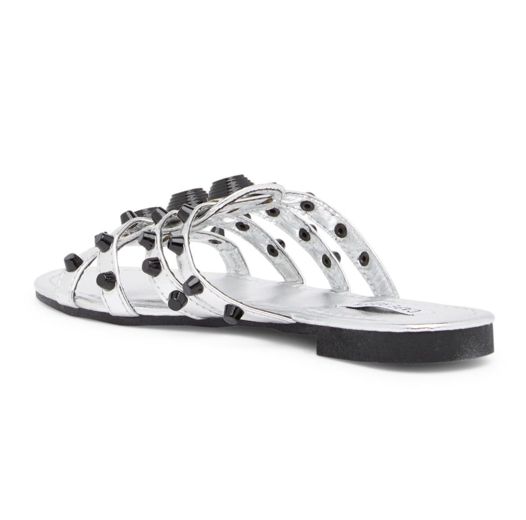 KiKI Vintage Studded Slipper Open Toe Slide Sandal Silver