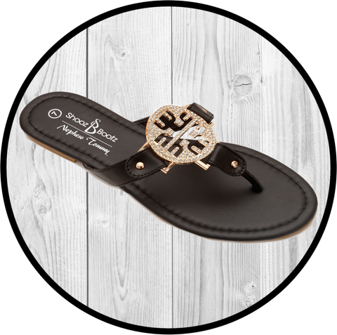 Iris Double Band Sling Back Blk/Org Sandal