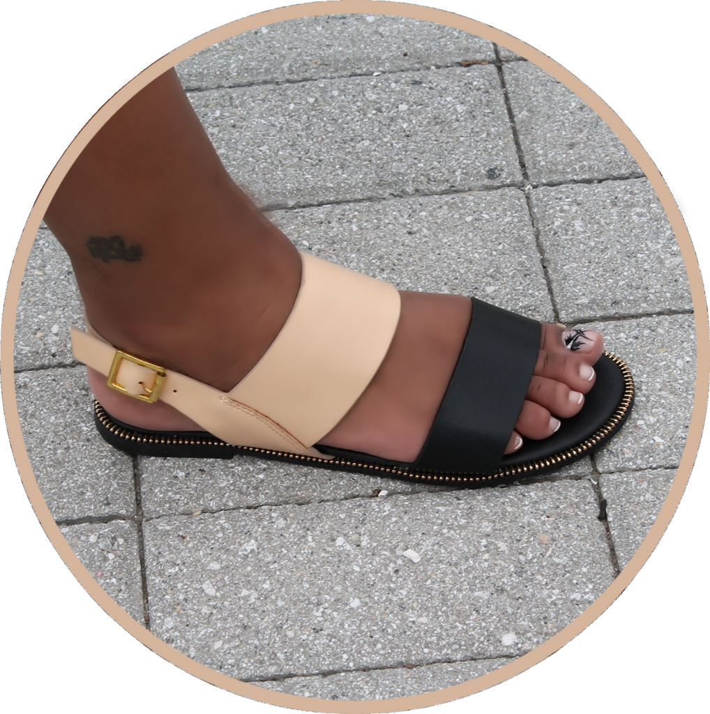 Daisy Double Band Sling Back Blk (Blk/Beige) Sandal