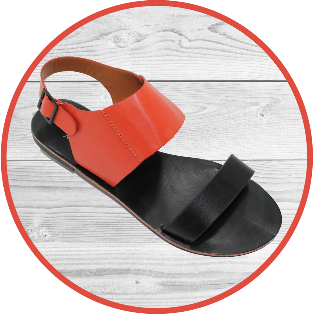 Iris Double Band Sling Back Blk/Salmon Sandal