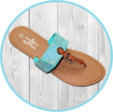 Kelly Faux Snake Turquoise Thong Sandal