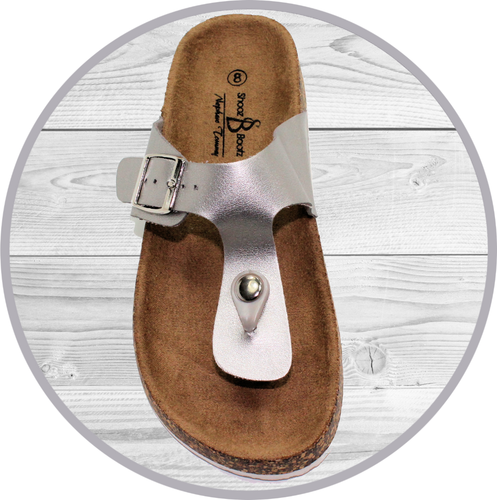 Kishi Silver Thong Footbed Sandals