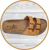 K Amiee Two Strap Footbed Camel Sandals