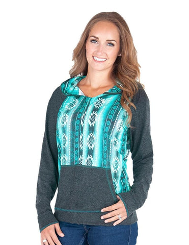 Cowgirl Tuff TURQUOISE AZTEC PRINT AND CHARCOAL PULLOVER HOODIE