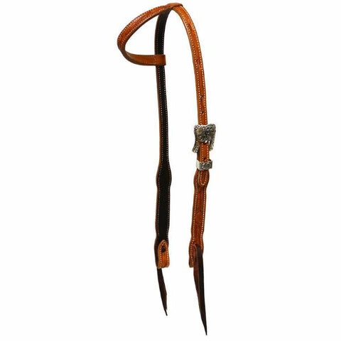 Floral Tooled Slip Ear Headstall by Cactus Saddlery
