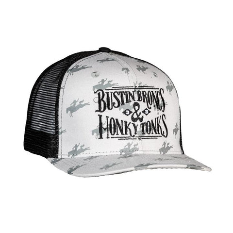 BUSTIN BRONCS & HONKY TONKS GREY & BLACK MESH