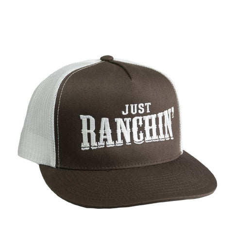 Just Ranchin Brown and White Cap