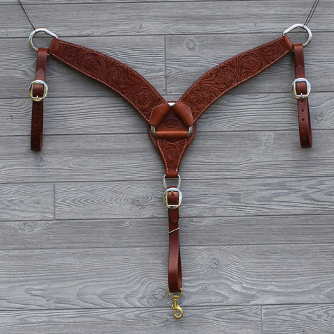 Floral Tooled Breast Collar by Cactus Saddlery