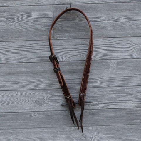 Chocolate Floral Tooled Slit Ear Headstall by Cactus Saddlery