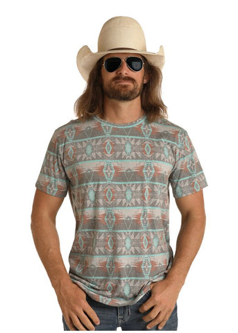 Dale Brisby Charcoal and Turquoise Aztec Print T-Shirt